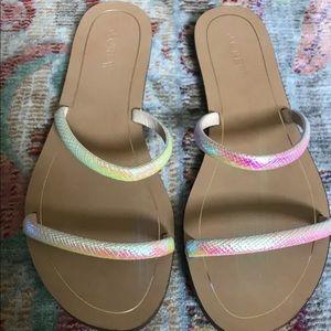 J. Crew Iridescent slide sandals. Size 9